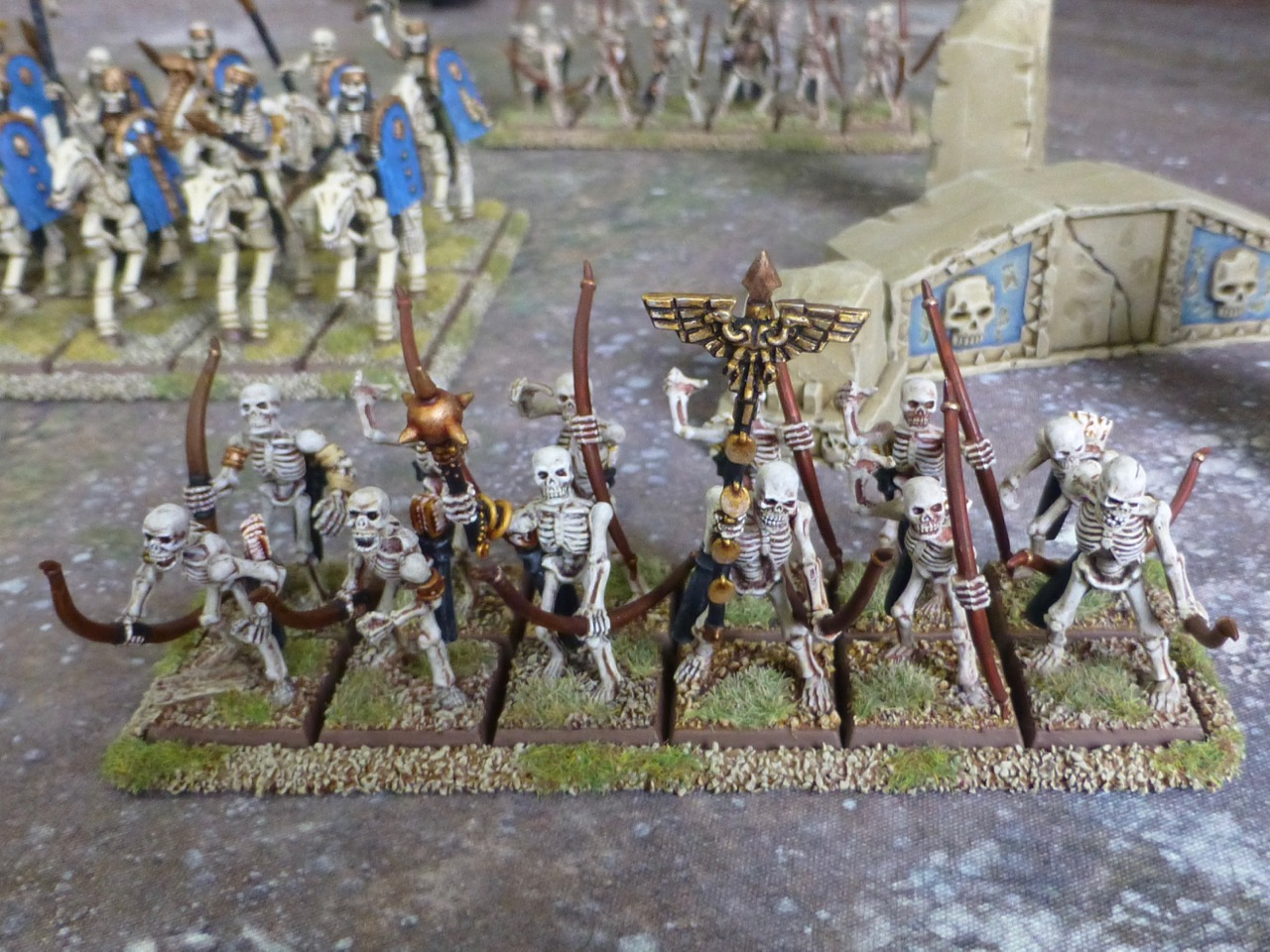 Two ranks of six skeleton archers