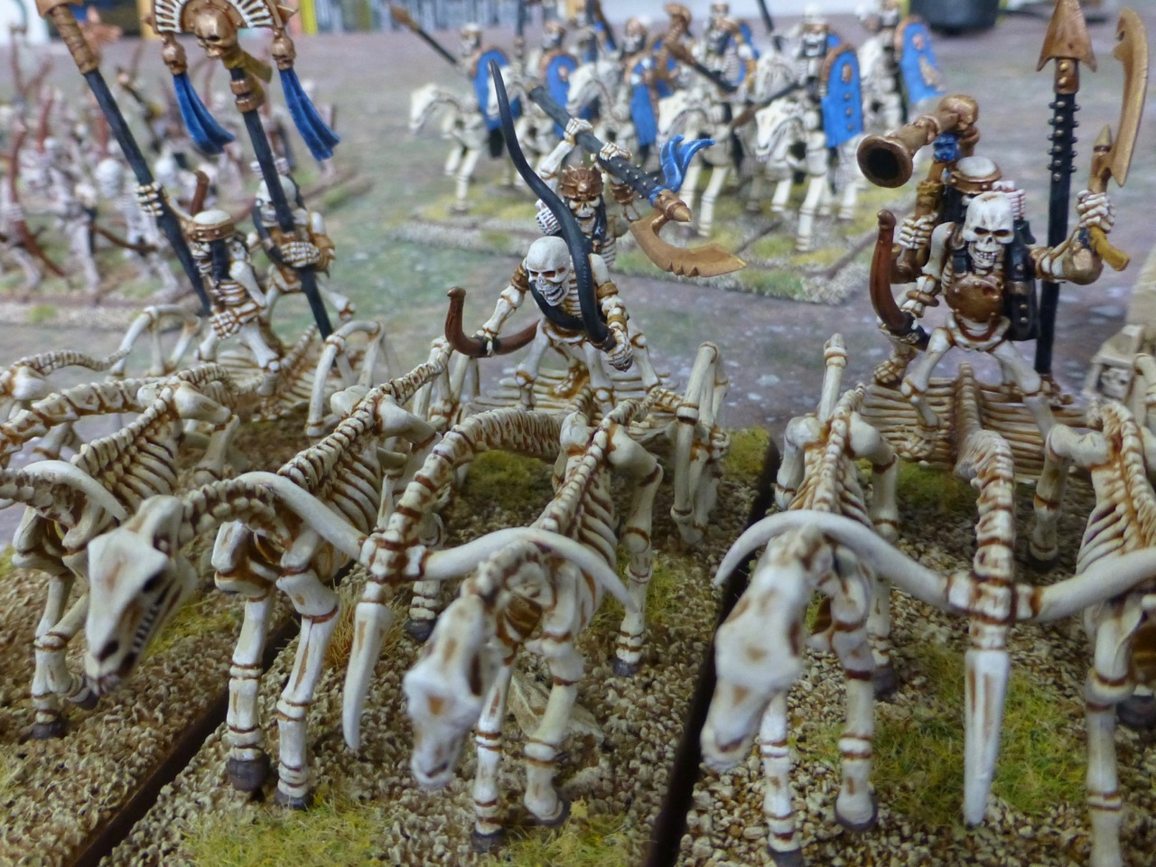 Close up view of skeletal chariots