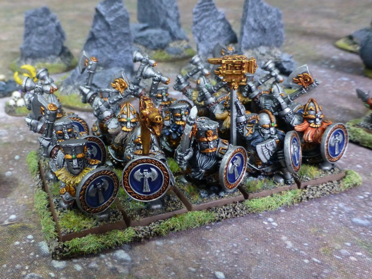 Angled view of the regiment of Dwarf Ironbreakers