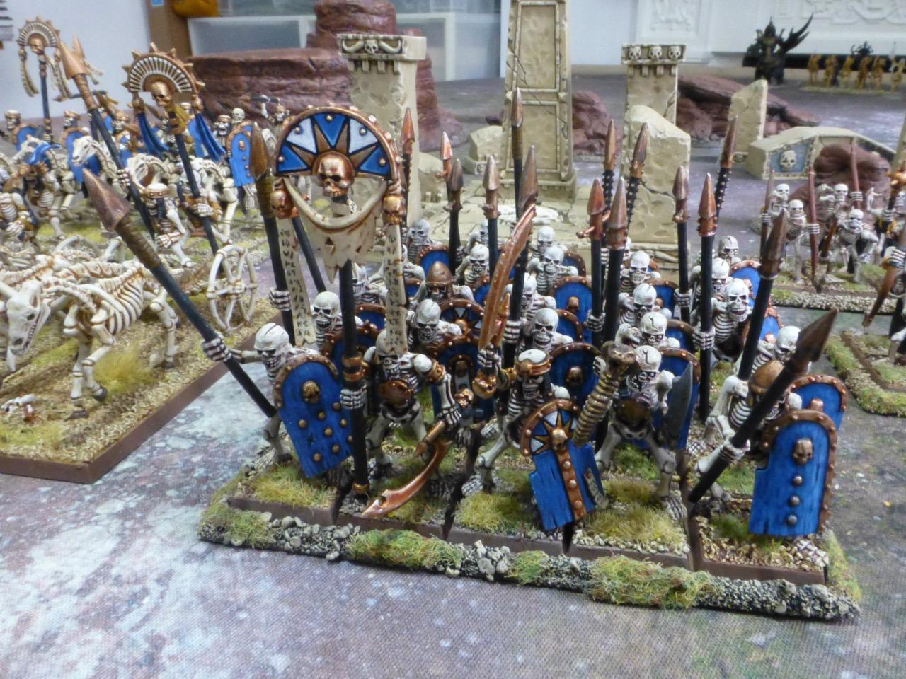 Skeleton spearmen with large blue shields