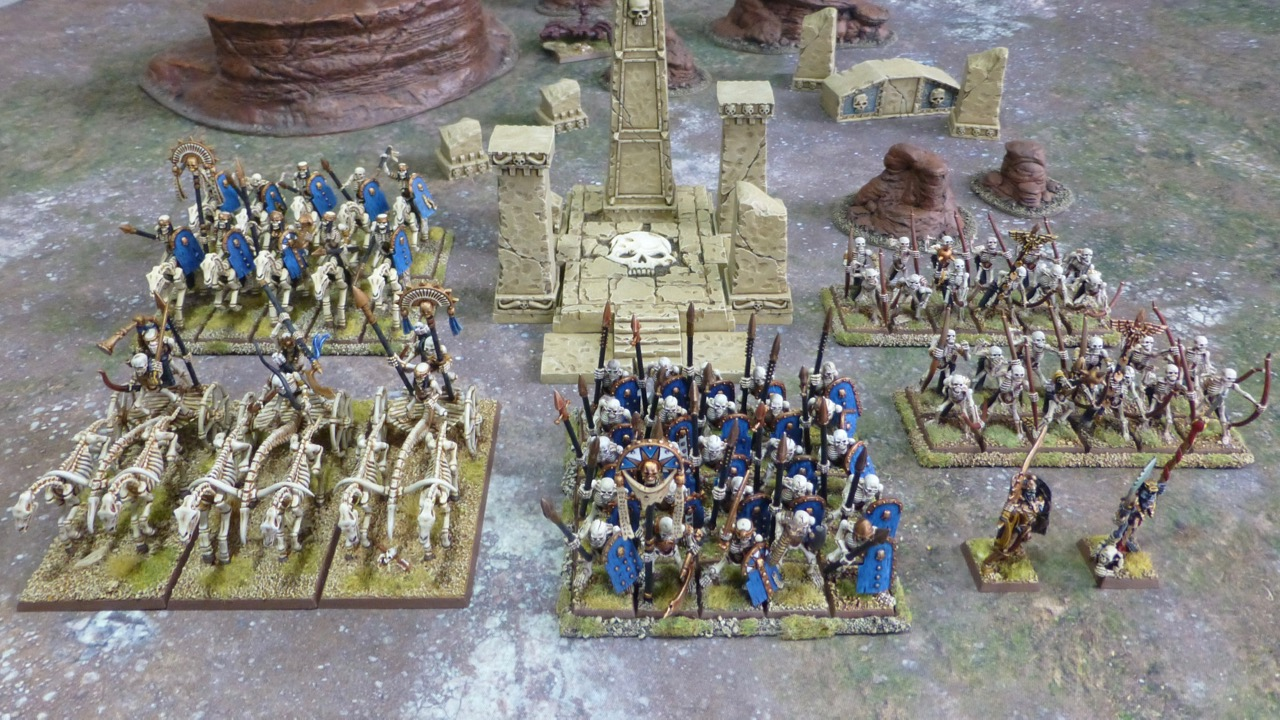 Top down view of army of skeletal warriors in Egyptian style